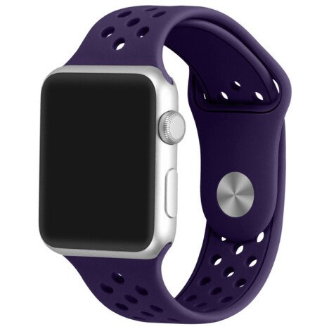 Curea iUni compatibila cu Apple Watch 1/2/3/4/5/6, 42mm, Silicon Sport, Purple
